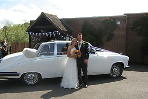U2R1 Wedding Cars - Bride and Groom with a Daimler DS420